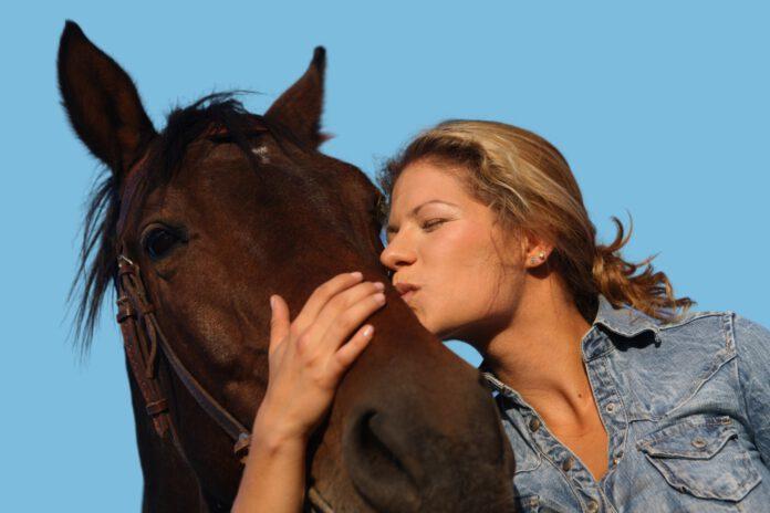 Hest får kys af en kvinde