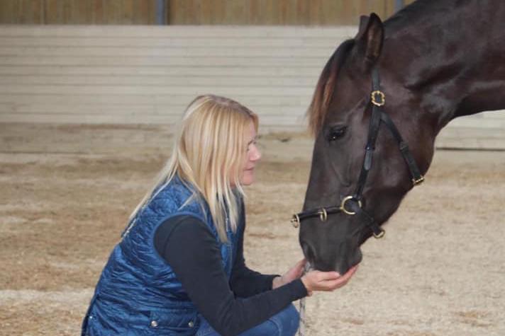 Kvinde fodrer hest