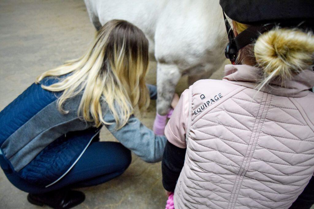 Barn, hest og forælder på staldgang
