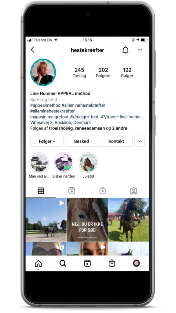 Line Hummel er en instagrammer med holistisk syn på heste