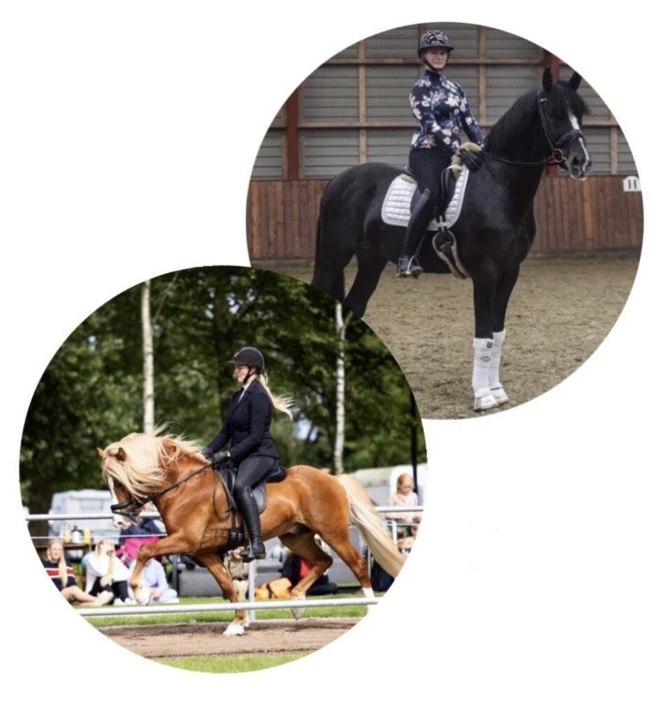 Simone Hoppe på sin islandske hest og på sin varmblodshest